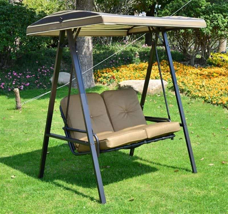 2 Seater Garden Swing Chair Light Brown Cushion Steel Frame Throughout 3 Person Red With Brown Powder Coated Frame Steel Outdoor Swings (View 9 of 20)