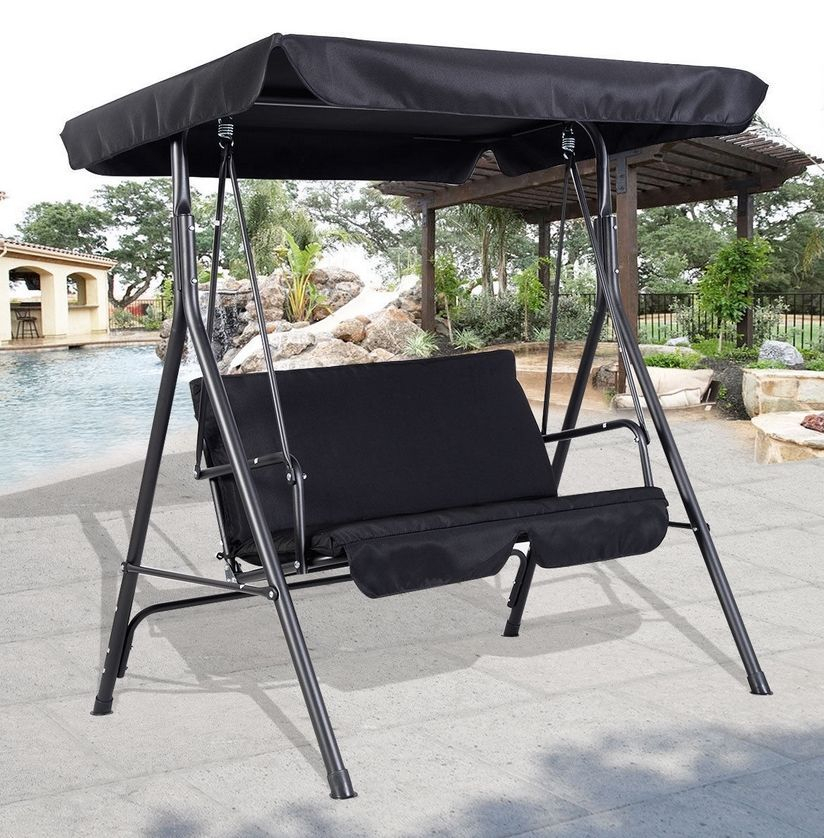 2 Seater Metal Swing Hammock Chair Bench Lounger Canopy With Regard To Patio Loveseat Canopy Hammock Porch Swings With Stand (View 4 of 20)