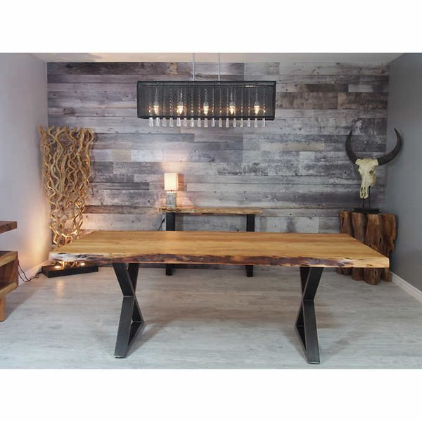 2019 Acacia Live Edge Dining Table With Black X Legs – 84 Inside Acacia Dining Tables With Black Rocket Legs (View 6 of 20)