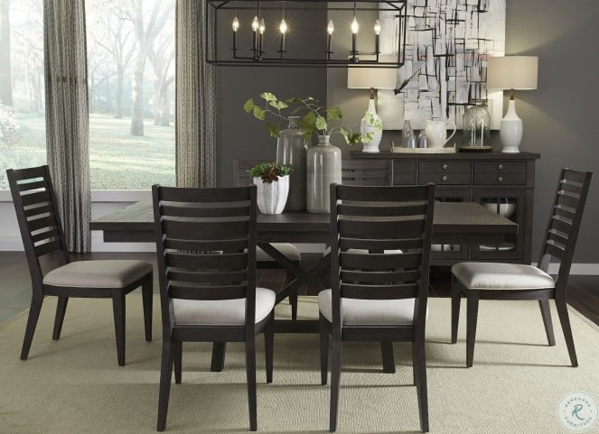 2019 Atwood Creek Wirebrushed Espresso Extendable Trestle Dining Room Set With Atwood Transitional Rectangular Dining Tables (#1 of 20)