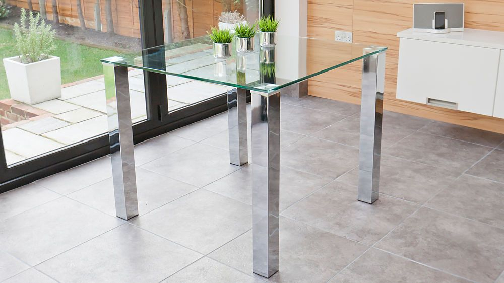 2019 Contemporary 4 Seating Square Dining Tables Intended For Tiva 2 To 4 Seater Small Glass And Chrome Dining Table (#1 of 20)