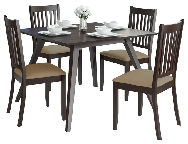 2019 Corliving Drg 895 Z3 Atwood 5Pc Dining Set With Microfiber Seats Throughout Atwood Transitional Rectangular Dining Tables (#2 of 20)