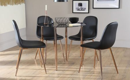 2019 Dining Tables With Black U Legs Within Horizon Round Black Glass Dining Table With 4 Brooklyn (View 1 of 20)
