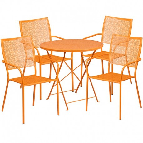 2019 Morris Round Dining Tables Within Morris 30'' Round Orange Indoor Outdoor Steel Folding Patio Table Set With  4 Square Back Chairs (#1 of 20)