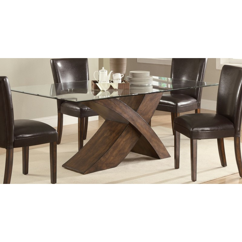 2019 Rectangular Glass Top Dining Tables Pertaining To Nessa Brown X Base Rectangular Glass Top Dining Table (#2 of 20)