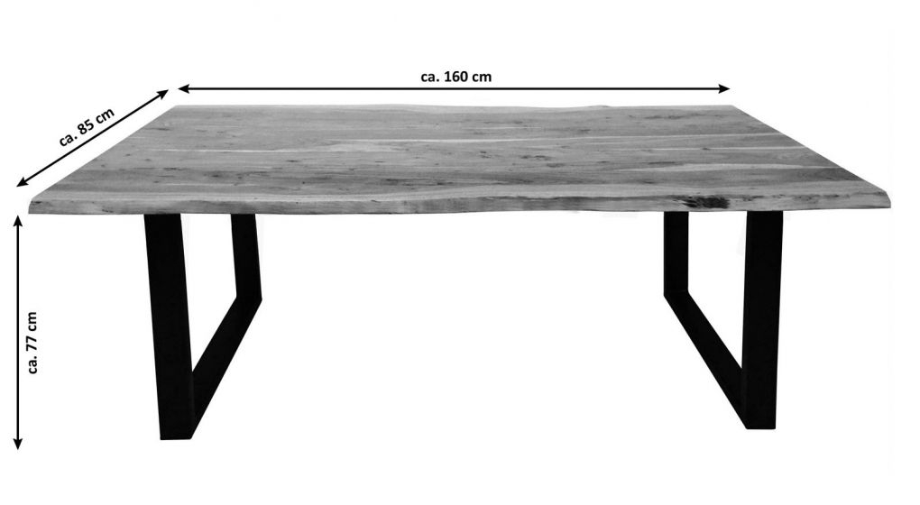 2019 Sam® Esstisch Baumkante Akazie Nussbaum 160 X 85 Cm Schwarz Regarding Acacia Dining Tables With Black Victor Legs (View 20 of 20)