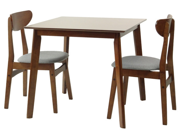 2019 Square 3 Piece Dining Set, Medium Brown, Yumiko Side Chairs Throughout 3 Pieces Dining Tables And Chair Set (View 2 of 21)