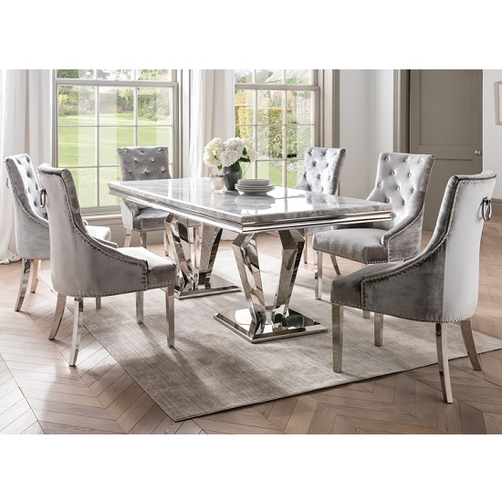Inspiration about 2020 Arlesey Marble Dining Table In Grey With 6 Pewter Velvet Chairs Intended For Contemporary 6 Seating Rectangular Dining Tables (#16 of 20)
