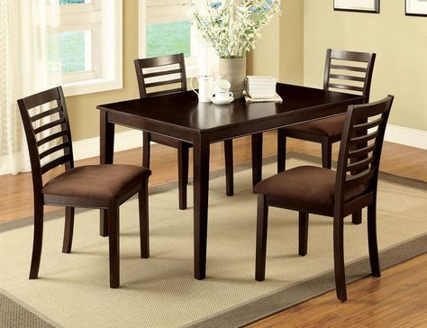 2020 Atwood Transitional Square Dining Tables Pertaining To 5 Pc Espresso Wood Dining Set Table Chairs Padded Microfiber (View 15 of 21)