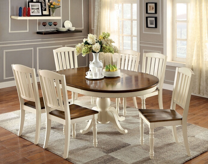 2020 Cm3216Ot 7Pc 7 Pc August Grove Spurling Harrisburg Oval / Round Vintage  White And Dark Oak Finish Wood Dining Table Set Inside Walnut And Antique White Finish Contemporary Country Dining Tables (#1 of 20)