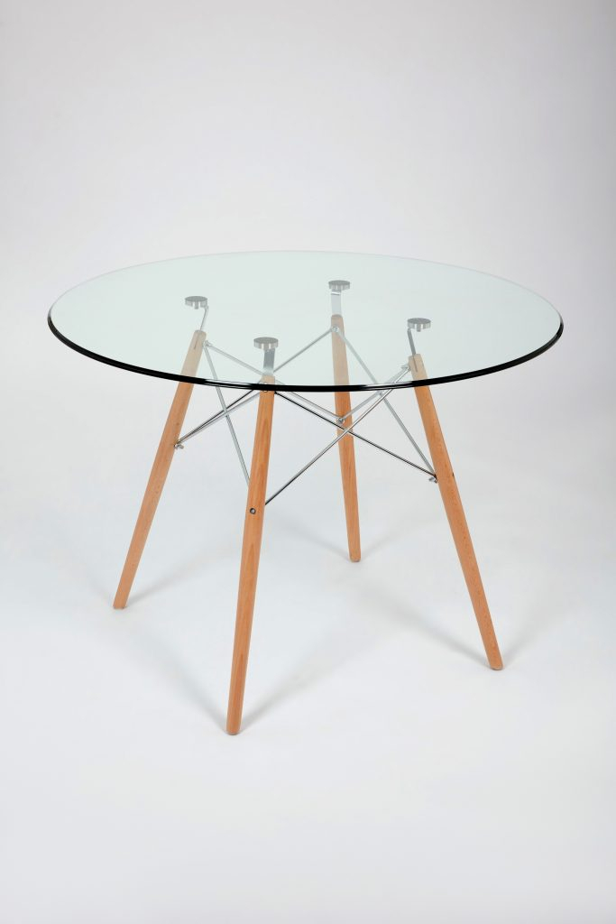 2020 Eames Style Dining Tables With Chromed Leg And Tempered Glass Top Throughout Dining Glass Table With Beechwood Legs (Size: 100Cm (#1 of 20)