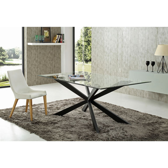 2020 Glass Dining Tables With Metal Legs Within China New Design Glass Dining Table With Metal Leg Furniture (#2 of 20)
