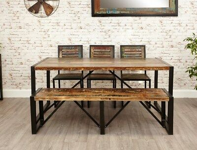 2020 Large Industrial Dining Table Solid Reclaimed Wood Vintage Pertaining To Large Rustic Look Dining Tables (View 3 of 20)