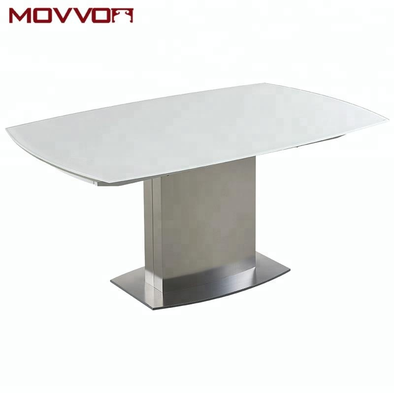 2020 Modern Glass Top Extension Dining Tables In Stainless For Modern Home Furniture Dining Set Designs White Glass Top Extensible Side  Dining Table With Stainless Steel Base And Legs – Buy Glass Dining (#1 of 20)