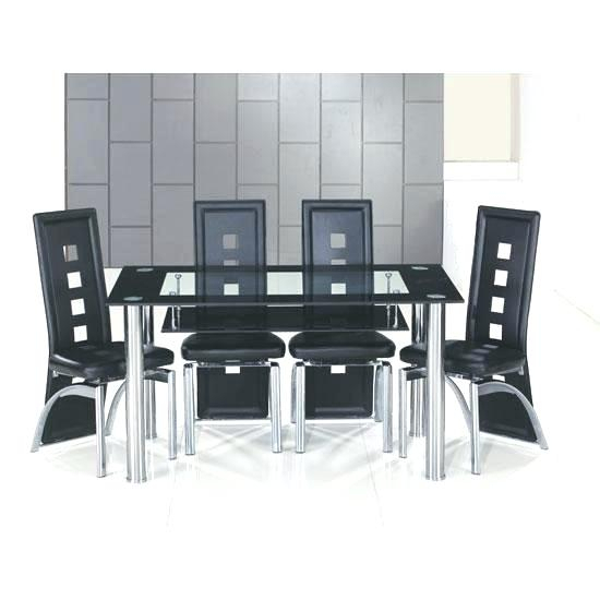 2020 Retro Glass Top Dining Table Set With 6 Pu Leather Chairs Intended For Retro Round Glasstop Dining Tables (#2 of 20)