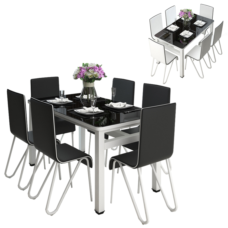 2020 Steel And Glass Rectangle Dining Tables With Gte Simple Modern Rectangle Tempered Glass Top Dining Table Set With 4 Chair (120cm X 70cm X75cm) (View 20 of 20)