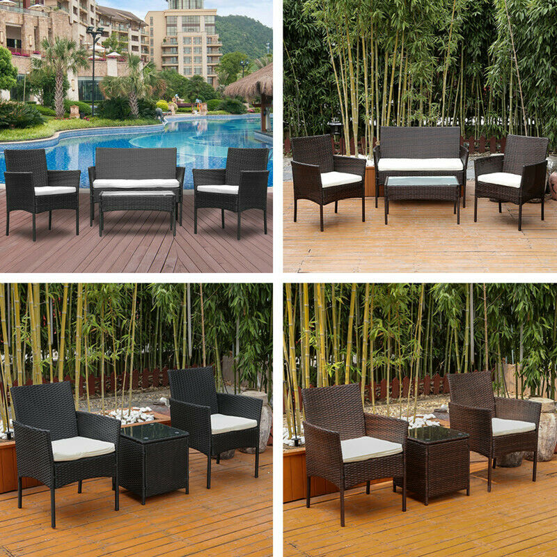 Inspiration about 3/4Pcs Rattan Wicker Patio Furniture Table Chairs Set Outdoor Backyard  Garden In Rattan Garden Swing Chairs (#18 of 20)