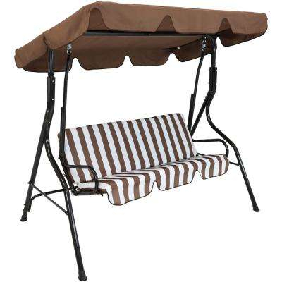 Inspiration about 3 Person Black Steel Porch Swing With Brown Striped Cushions Inside CasualThames Black Wood Porch Swings (#12 of 20)