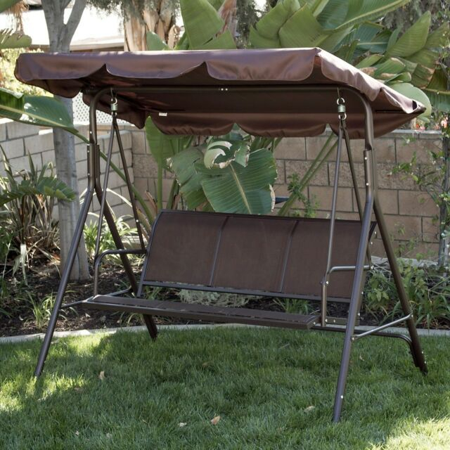 Inspiration about 3 Person Patio Swing Canopy Awning Outdoor Hammock Steel  Brown Intended For 3 Person Brown Steel Outdoor Swings (#5 of 20)