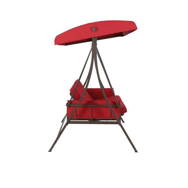 Inspiration about 3 Person Red Futon Swing | Lowe's Canada In 3 Person Red With Brown Powder Coated Frame Steel Outdoor Swings (#14 of 20)