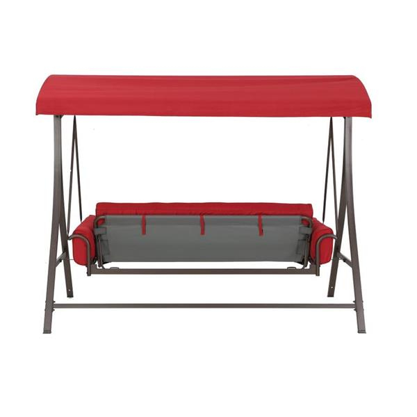 3 Person Red Futon Swing | Lowe's Canada Intended For 3 Person Red With Brown Powder Coated Frame Steel Outdoor Swings (View 6 of 20)