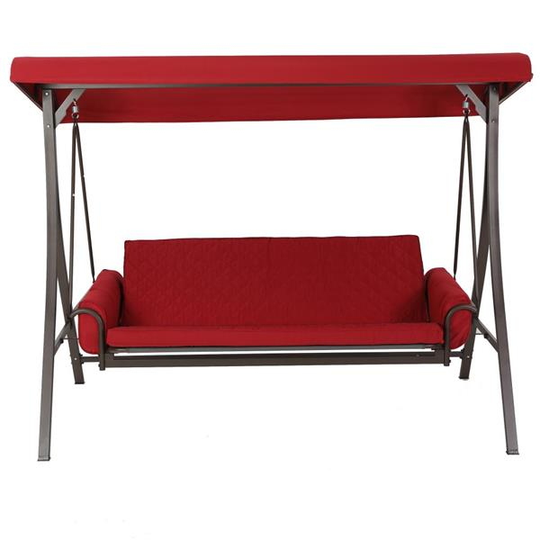 3 Person Red Futon Swing | Lowe's Canada With 3 Person Red With Brown Powder Coated Frame Steel Outdoor Swings (View 2 of 20)