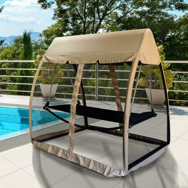 Inspiration about 3 Seat Garden Swing Chair 2In1 Outdoor Rocking Bench Daybed Hammock Cover  Beige Throughout Garden Leisure Outdoor Hammock Patio Canopy Rocking Chairs (#15 of 20)