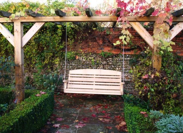 Inspiration about 3 Seat Horizon Swing Seat Hung From A Pergola In A Walled Intended For 3 Seat Pergola Swings (#14 of 20)