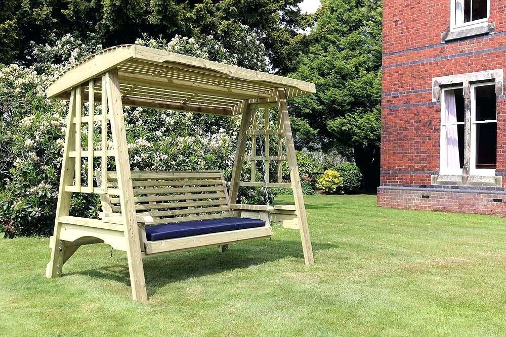 3 Seater Garden Swing Seat Wooden Chair Cushions – For The With Regard To 3 Seat Pergola Swings (View 5 of 20)