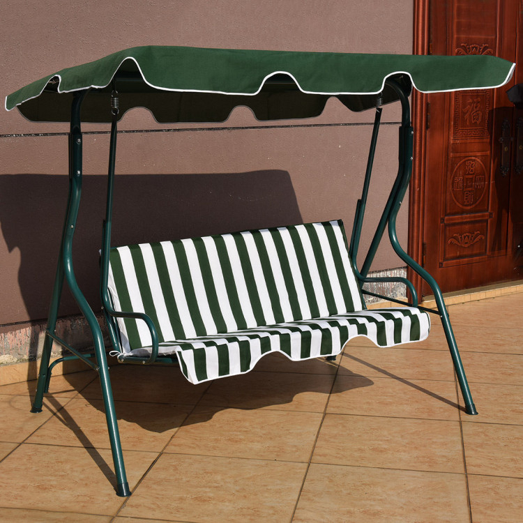 Inspiration about 3 Seats Patio Canopy Cushioned Steel Frame Swing Glider Within Patio Glider Hammock Porch Swings (#9 of 20)