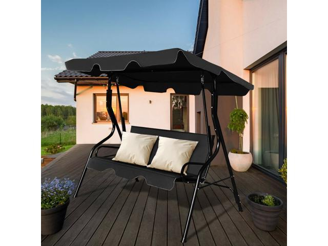 Inspiration about 3 Seats Patio Canopy Swing Glider Hammock Cushioned Steel Frame Backyar  Black/green/coffee – Newegg In 3 Seats Patio Canopy Swing Gliders Hammock Cushioned Steel Frame (#19 of 20)