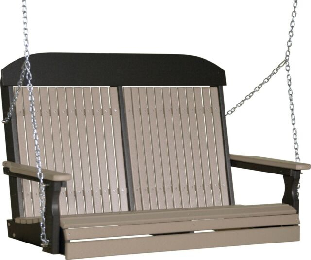 4 Ft Highback Porch Swing *weatherwood & Black* Poly Lumber Recycled Plastic For Vineyard 2 Person Black Recycled Plastic Outdoor Swings (View 3 of 20)