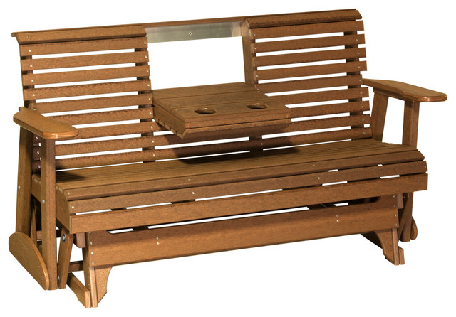 Inspiration about 5 Foot Rollback Glider Bench In Premium Woodgrain Poly Lumber, Antique Mahogany Pertaining To 1 Person Antique Black Steel Outdoor Gliders (#18 of 20)