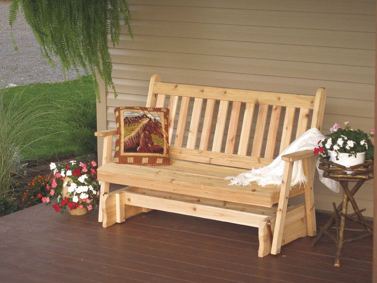 Inspiration about 5 Foot Western Cedar Traditional English Porch Glider Regarding Traditional English Glider Benches (#11 of 20)