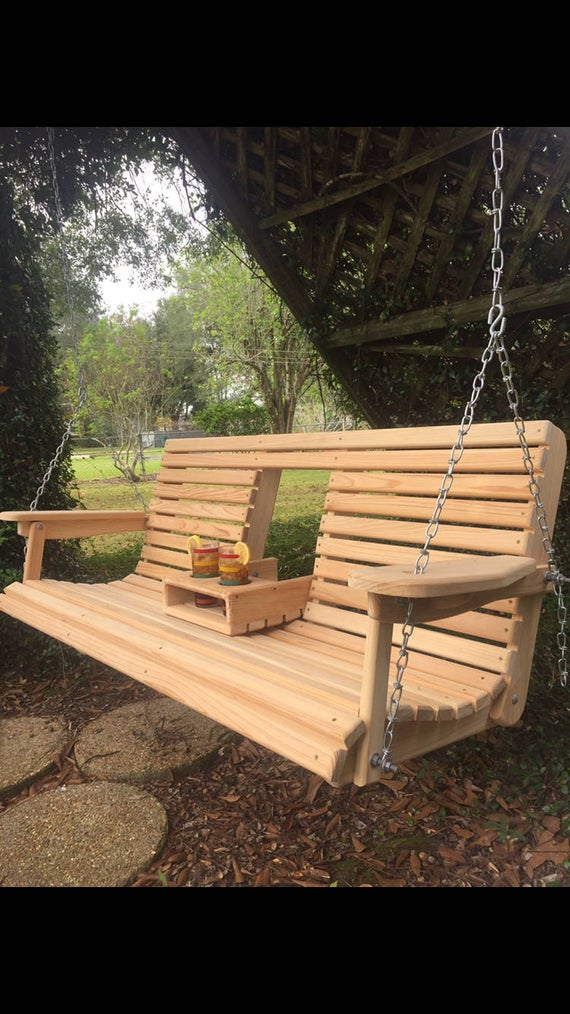 5 Ft Cypress Porch Swing With Flip Down Console Cup Holders – #1 Select Kiln Dried Cypress Handmade In Louisiana (free Shipping) Intended For 5 Ft Cedar Swings With Springs (View 16 of 20)