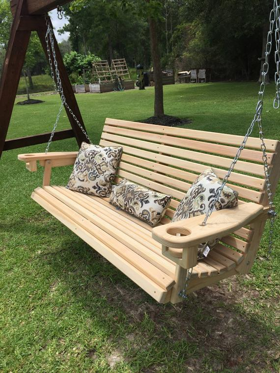 5 Ft Handmade Cypress Porch Swing With Cupholders Custom Engraving & Staining Available (free Shipping) With Regard To 5 Ft Cedar Swings With Springs (View 7 of 20)