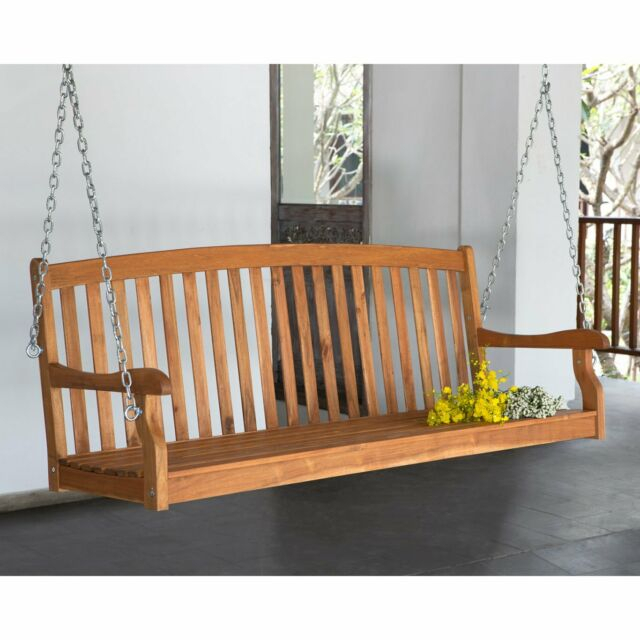 Inspiration about 5 Ft Wood Porch Swing Slat Back 2 Person Bench Seat Loveseat Tree Furniture  New For 2 Person White Wood Outdoor Swings (#4 of 20)