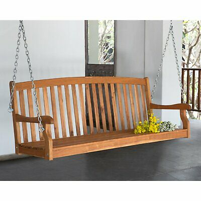 Inspiration about 5 Ft Wood Porch Swing Slat Back 2 Person Bench Seat Loveseat Tree Furniture  New Throughout Hardwood Porch Glider Benches (#14 of 20)