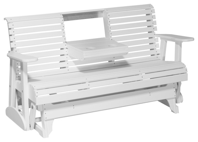Inspiration about 5' Poly Rollback Glider Bench, White With Fanback Glider Benches (#16 of 20)