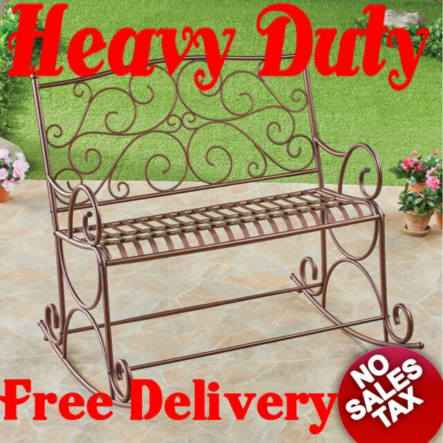 500lb Heavy Duty Outdoor Metal Double Rocking Chair Patio Garden Bench Glider Regarding Indoor/outdoor Double Glider Benches (View 13 of 20)