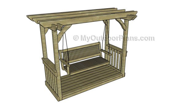 Inspiration about 56 Diy Porch Swing Plans [Free Blueprints] – Mymydiy Intended For A4 Ft Cedar Pergola Swings (#17 of 20)