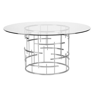 "Inspiration about 59"" W Round Dining Table Polished Stainless Steel Base Clear Tempered Glass  Top (#18 of 20)"