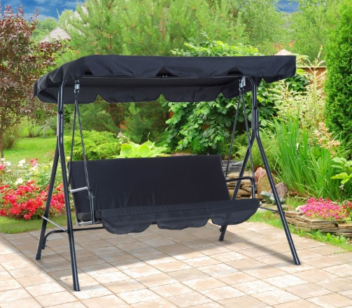 6+ Best 2 Seater Outdoor Swing Table & Chairs Reviews 2020 With 2 Person Black Steel Outdoor Swings (#3 of 20)