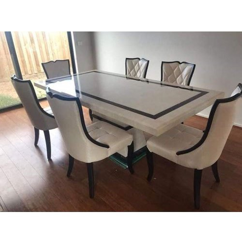 6 Seater Marble Top Designer Dining Table Inside Most Current Wood Top Dining Tables (View 6 of 20)