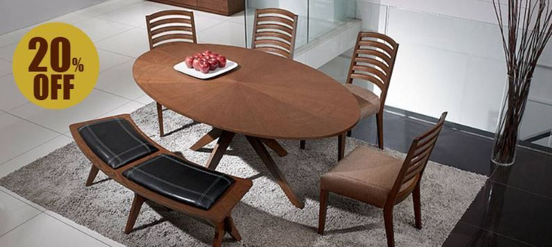 6 Seater Walnut Oval Dining Table With Faux Leather With 2019 Contemporary 4 Seating Oblong Dining Tables (#2 of 20)