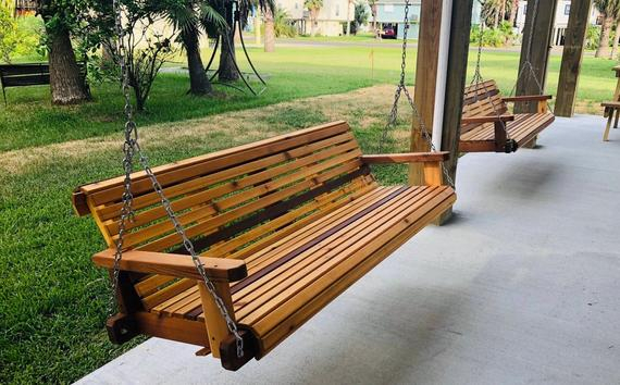 6Ft Cedar Porch Swing, Custom Outdoor Wood Furniture, Oversize Swing Within 2 Person Natural Cedar Wood Outdoor Swings (#5 of 20)