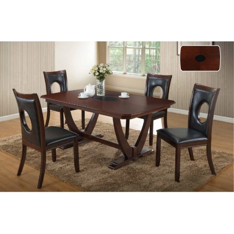 7 Piece Dining Set Brown And Black – Imex Furniture Within Best And Newest Cappuccino Finish Wood Classic Casual Dining Tables (View 12 of 20)