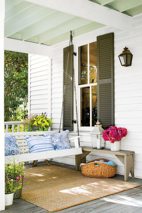 80 Breezy Porches And Patios | Farmhouse Porch Swings Within Cotton Porch Swings (View 8 of 20)