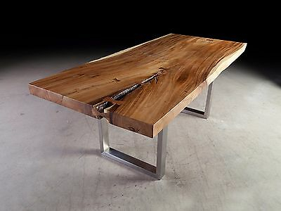 """84"""" Long Dining Table Solid Acacia Wood Slab Top Iron Leg With Most Up To Date Acacia Wood Top Dining Tables With Iron Legs On Raw Metal (#1 of 20)"""