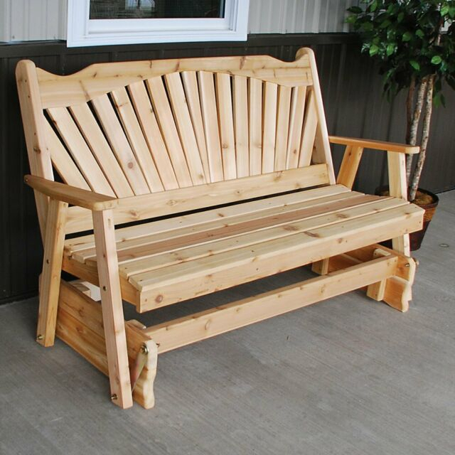 A & L Furniture Western Red Cedar Fanback Outdoor Loveseat Glider Throughout 2 Person Natural Cedar Wood Outdoor Gliders (#4 of 20)